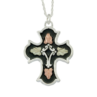 Sterling Silver Black Hills Gold Antiqued Cross Pendant - Jewelry