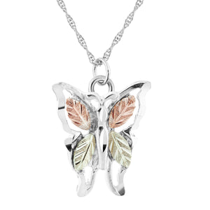 Sterling Silver Black Hills Gold Butterfly Pendant I - Jewelry