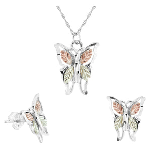 Sterling Silver Long Butterflies Earrings & Pendant Set