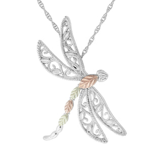 Sterling Silver Black Hills Gold Dragonfly Pendant - Jewelry