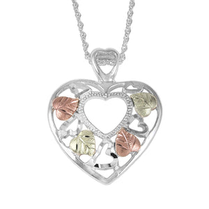 Sterling Heart in a Heart Pendant & Necklace - Black Hills Gold - Fortune And Glory - Made in USA Gifts