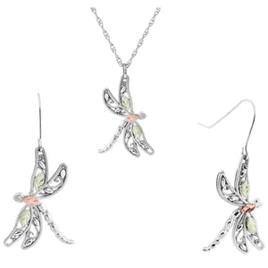 Sterling Silver Dragonfly Earrings & Pendant Set - Fortune And Glory - Made in USA Gifts