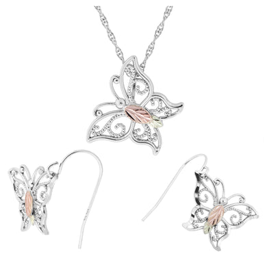 Sterling Silver Bright Butterfly Earrings & Pendant Set