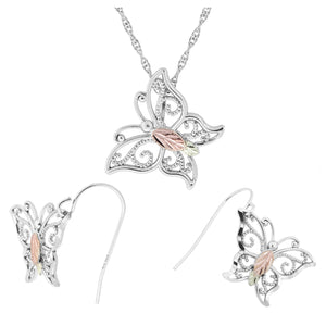 Sterling Silver Bright Butterfly Earrings & Pendant Set - Fortune And Glory - Made in USA Gifts