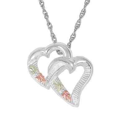 Sterling Silver Black Hills Gold 2 Hearts Pendant - Jewelry
