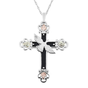 Antiqued Sterling Dove Cross Pendant & Necklace - Black Hills Gold
