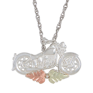 Sterling Silver Black Hills Gold Motorcycle Pendant - Jewelry