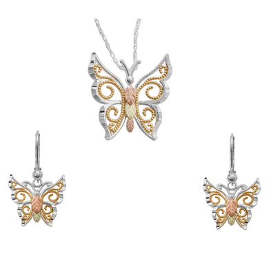 Sterling Silver Gilded Butterfly Earrings & Pendant Set