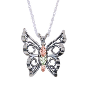 Sterling Silver Black Hills Gold Oxidized Butterfly Pendant - Jewelry