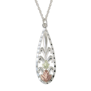 Sterling Silver Oval Design Pendant & Necklace