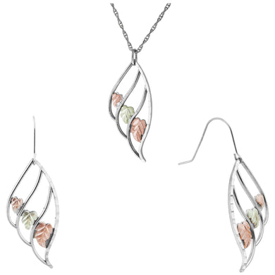 Sterling Silver Triple Leaf Earrings & Pendant Set - Fortune And Glory - Made in USA Gifts