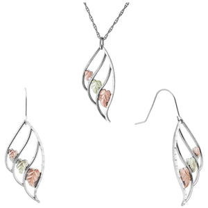 Sterling Silver Triple Leaf Earrings & Pendant Set
