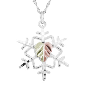 Sterling Silver Snowflake Pendant & Necklace - Black Hills Gold - Fortune And Glory - Made in USA Gifts