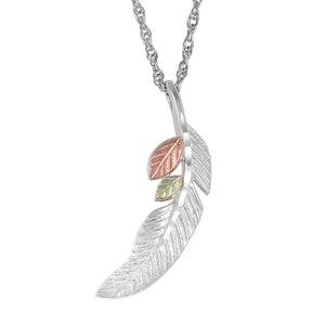 Sterling Silver Black Hills Gold Feather Pendant - Jewelry