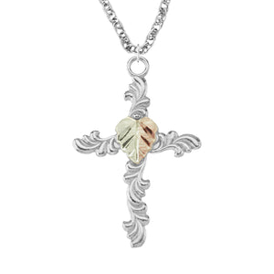 Sterling Silver Black Hills Gold Cross Leafy Pendant - Jewelry