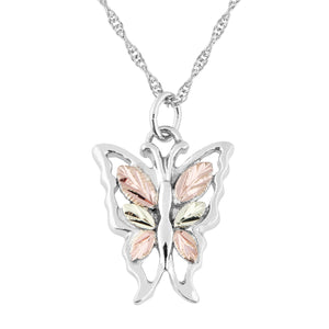 Six Leaf Silver Butterfly Pendant & Necklace - Black Hills Gold - Fortune And Glory - Made in USA Gifts