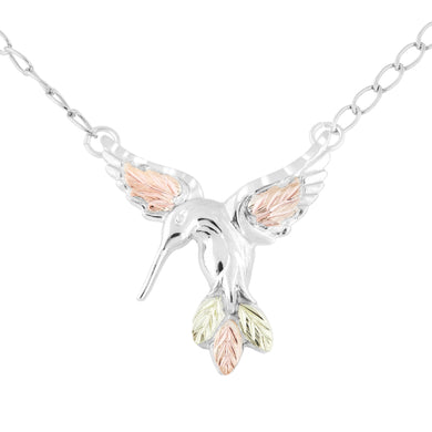 Sterling Hummingbird Pendant & Necklace - Black Hills Gold - Fortune And Glory - Made in USA Gifts
