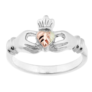 Sterling Silver Black Hills Gold Claddagh Ring - Fortune And Glory - Made in USA Gifts