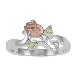 Sterling Silver Black Hills Gold Beautiful Rose Ring - Fortune And Glory - Made in USA Gifts