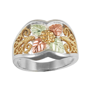Sterling Silver Black Hills Gold Four Leaf Ring - Jewelry