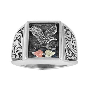 Square Men's Sterling Silver Eagle Antiqued Ring - Black Hills Gold - Fortune And Glory - Made in USA Gifts