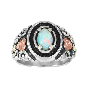 Sterling Silver Black Hills Gold Opal Ring - Fortune And Glory - Made in USA Gifts