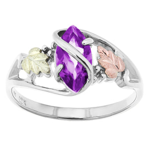 Sterling Silver Black Hills Gold Amethyst Ring - Fortune And Glory - Made in USA Gifts