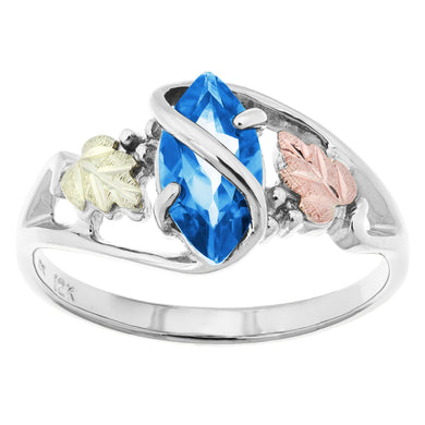 Sterling Silver Black Hills Gold Blue Topaz Ring - Jewelry