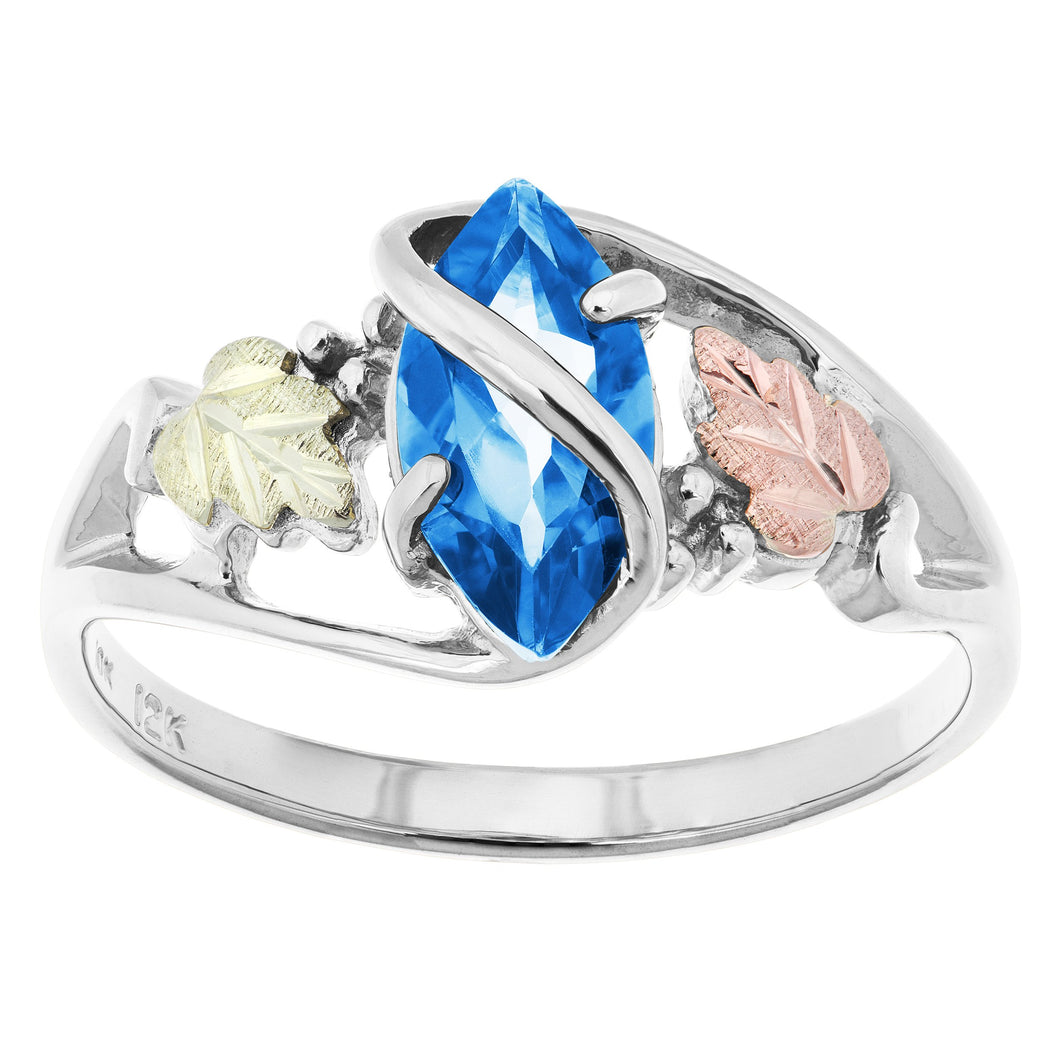 Sterling Silver Black Hills Gold Blue Topaz Ring
