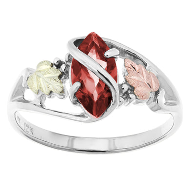 Sterling Silver Black Hills Gold Garnet Ring - Fortune And Glory - Made in USA Gifts