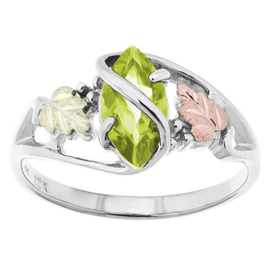 Sterling Silver Black Hills Gold Peridot Ring - Fortune And Glory - Made in USA Gifts