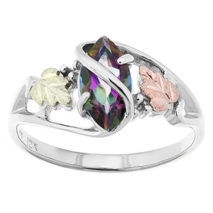 Sterling Silver Black Hills Gold Mystic Fire Topaz Ring II - Fortune And Glory - Made in USA Gifts