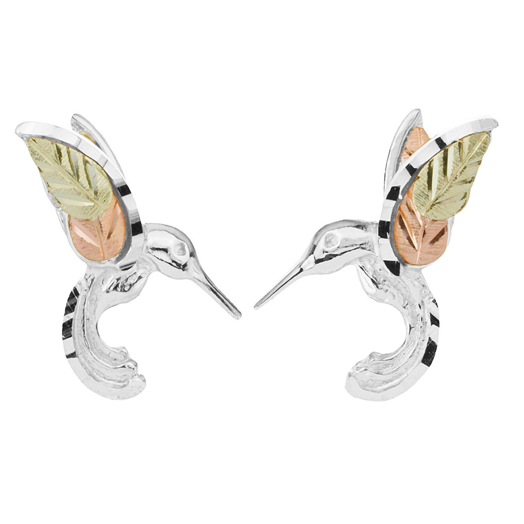 Gorgeous Hummingbirds Black Hills Gold and Sterling Silver Earrings