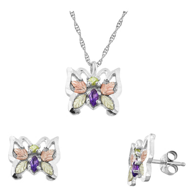 Sterling Silver Amethyst Butterflies Earrings & Pendant Set