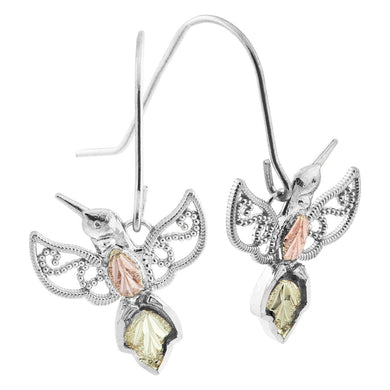 Sterling Silver Black Hills Gold Hummingbird Earrings II - Jewelry