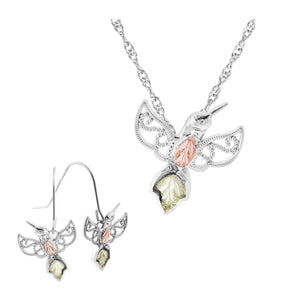 Sterling Silver Hummingbird Earrings & Pendant Set