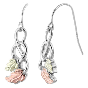Sterling Silver Black Hills Gold Double Leaf Earrings II - Jewelry