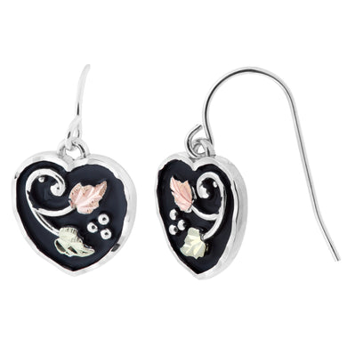 Sterling Silver Black Hills Gold Heart Earrings - Jewelry