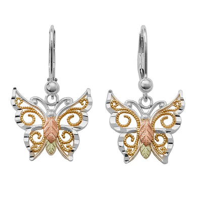 Sterling Silver Black Hills Gold Gilded Butterfly Earrings - Jewelry