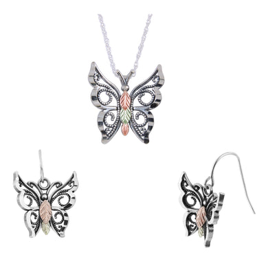Sterling Silver Oxidized Butterfly Earrings & Pendant Set - Fortune And Glory - Made in USA Gifts