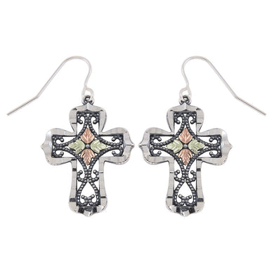 Sterling Silver Black Hills Gold Oxidized Cross Earrings - Jewelry