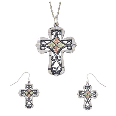 Sterling Silver Oxidized Cross Earrings & Pendant Set - Fortune And Glory - Made in USA Gifts