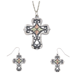 Sterling Silver Oxidized Cross Earrings & Pendant Set - Jewelry