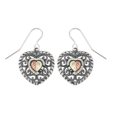 Sterling Silver Black Hills Gold Oxidized Heart Earrings - Jewelry