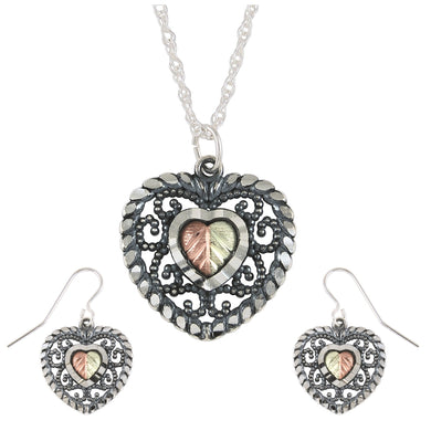 Sterling Silver Oxidized Heart Earrings & Pendant Set - Fortune And Glory - Made in USA Gifts