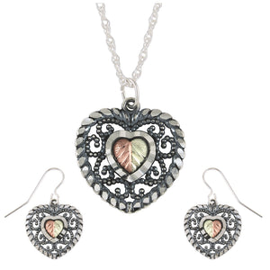 Sterling Silver Oxidized Heart Earrings & Pendant Set