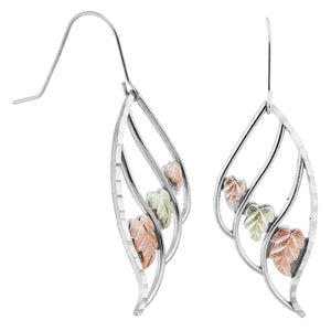 Sterling Silver Black Hills Gold Triple Leaf Earrings - Jewelry