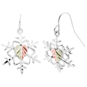Sterling Silver Black Hills Gold Snowflake Earrings - Jewelry