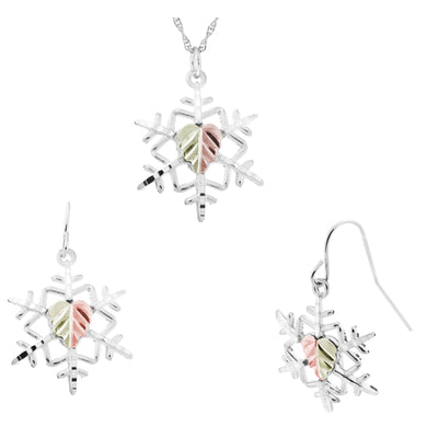 Sterling Silver Snowflake Earrings & Pendant Set - Fortune And Glory - Made in USA Gifts