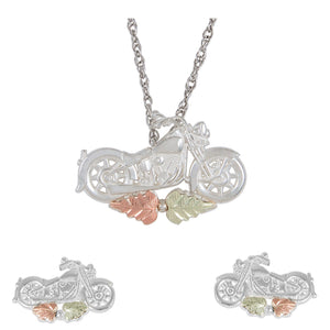 Sterling Silver Motorcycle Earrings & Pendant Set - Fortune And Glory - Made in USA Gifts